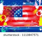 north korean and usa american... | Shutterstock . vector #1113847571