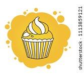 yellow cupcake. cartoon vector...   Shutterstock .eps vector #1113859121