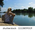 blonde woman with pony tail ... | Shutterstock . vector #1113859319