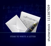 items to write a letter  vector ... | Shutterstock .eps vector #111387509