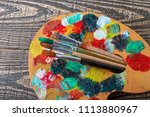 brushes  paints and accessories ... | Shutterstock . vector #1113880967