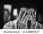 sad and depressed young man... | Shutterstock . vector #1113885527