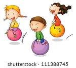 illustration of three bouncing... | Shutterstock .eps vector #111388745