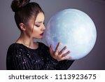 beautiful young elegant woman... | Shutterstock . vector #1113923675