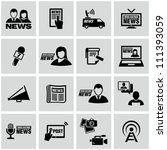 News reporter icons set.