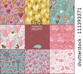romantic seamless patterns.... | Shutterstock .eps vector #111393371