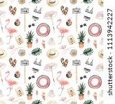 seamless pattern with summer...   Shutterstock . vector #1113942227