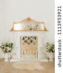 beautiful antique  fireplace in ... | Shutterstock . vector #1113953921
