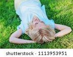 beautiful happy blonde girl... | Shutterstock . vector #1113953951