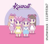 group of cute kawaii girls... | Shutterstock .eps vector #1113955367