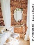 vintage elegant mirror in the... | Shutterstock . vector #1113956369