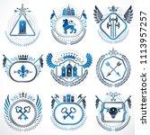 set of old style heraldry...   Shutterstock . vector #1113957257