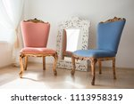 beautiful antique chair and... | Shutterstock . vector #1113958319