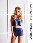 beautiful blonde girl closeup.... | Shutterstock . vector #1113988991