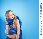 beautiful blonde girl closeup.... | Shutterstock . vector #1113989015