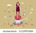 email marketing concept  woman...   Shutterstock .eps vector #1113995384