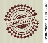 red confidential rubber seal... | Shutterstock .eps vector #1114013609