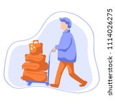 man with luggage trolley flat... | Shutterstock .eps vector #1114026275