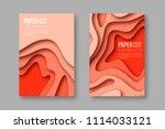 3d paper cut vertical banners.... | Shutterstock .eps vector #1114033121