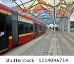 tram to the center.  lodz ... | Shutterstock . vector #1114046714