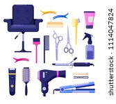 beauty salon colorful icons and ... | Shutterstock .eps vector #1114047824