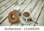 morning breakfast on wooden table - stock photo