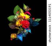 vintage bouquet of dandelion... | Shutterstock .eps vector #1114053191