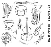 Vector Sketch Set Of Symphony...