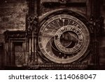 astronomical clock closeup in... | Shutterstock . vector #1114068047