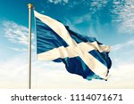 scotland flag on the blue sky... | Shutterstock . vector #1114071671
