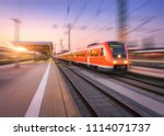 high speed red train with... | Shutterstock . vector #1114071737