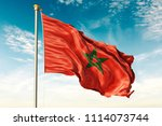 morocco flag on the blue sky... | Shutterstock . vector #1114073744