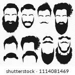 hair and beard shapes design... | Shutterstock . vector #1114081469