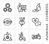 set of 9 simple editable icons... | Shutterstock .eps vector #1114082531