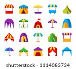 tent flat icons set. web sign... | Shutterstock .eps vector #1114083734