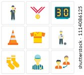 set of 9 simple editable icons... | Shutterstock .eps vector #1114086125