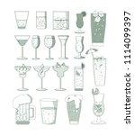 set of bar drinks   Shutterstock .eps vector #1114099397