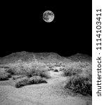 desert moon over the... | Shutterstock . vector #1114103411
