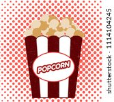 popcorn on halftone background. ... | Shutterstock .eps vector #1114104245