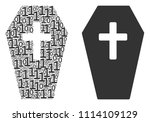 coffin composition icon of one... | Shutterstock .eps vector #1114109129