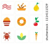 set of 9 simple editable icons... | Shutterstock .eps vector #1114111529