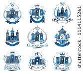 ancient citadels emblems set....   Shutterstock . vector #1114115261