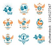 set of fitness theme emblems... | Shutterstock . vector #1114127267