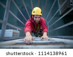 male industry rope access... | Shutterstock . vector #1114138961