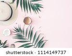 summer composition. tropical... | Shutterstock . vector #1114149737
