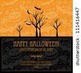 halloween vector card  or... | Shutterstock .eps vector #111416447