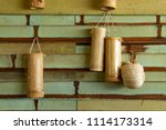 bamboo tube for drinking water. ... | Shutterstock . vector #1114173314
