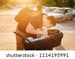 father dad with newborn pram...   Shutterstock . vector #1114195991