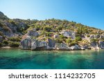sea  near ruins of the ancient... | Shutterstock . vector #1114232705
