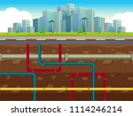 the underground water pipe... | Shutterstock .eps vector #1114246214